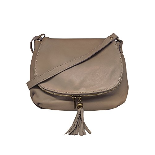 épaule OLGA fabriqué avec à compartiments sacs Sac glissière bandoulière cuir à Italie à taupe deux fermeture small de portés vachette en awaxFgX