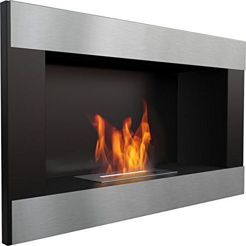 (Domadeco Georgia Black horizontal wall mounted bioethanol fireplace modern style fireplace silver color)