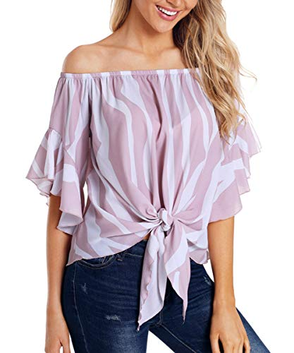 Eternatastic Womens Striped Off Shoulder Bell Sleeve Shirt Tie Knot Blouses Top L Pink ()