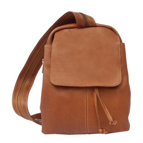 Piel Leather Small Drawstring Backpack, Saddle, One Size ()