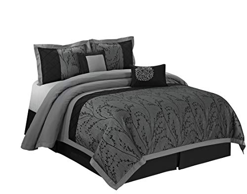 8 Piece Weistera Jacquard Tree Branches Comforter Sets Queen Dark Grey