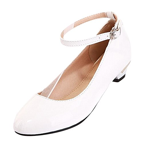 Heel Carolbar Buckle Shoes White Women's Candy Color Low Court Cute q7Zw1xC
