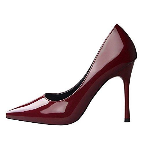 Pull Chiuso Tacchi Solido Weipoot Toe Donne Dell'unità Pompe Bordeaux on 38 Di Elaborazione calzature Di 1wXZq