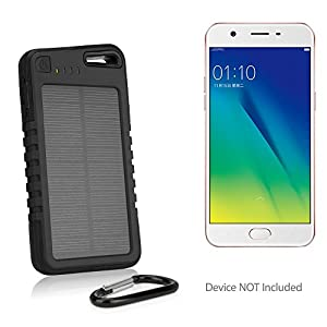 Oppo A57 Battery, BoxWave [Solar Rejuva PowerPack (5000mAh)] Solar Powered  Backup Power Bank for Oppo A57 - Jet Black