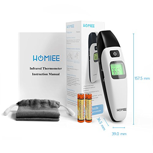 HOMIEE Black Thermometer, Ear Thermometer for Kids, Non Contact Infrared Digital Forehead Thermometer with Fever Alert and Three Color Backlit for Baby and Adults, FDA and CE Certifications Approved by HOMIEE (Image #6)