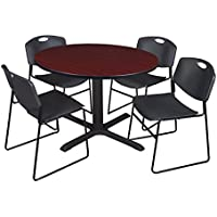 Cain 48 Round Breakroom Table- Mahogany & 4 Zeng Stack Chairs- Black
