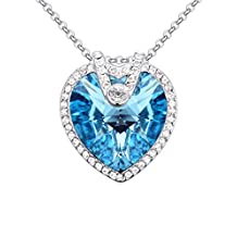 FANSING Jewelry Made with Swarovski Element Heart Crystal Pendant Necklaces for Women Sea Blue