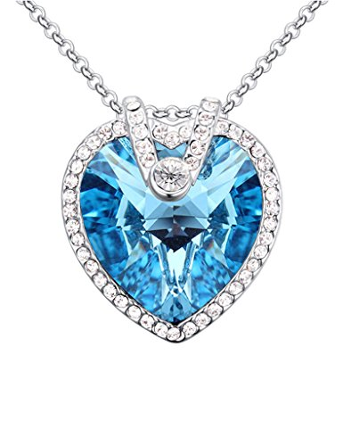 [FANSING Jewelry Austria Ocean Heart Crystal Pendant Necklaces for Women and Girls Blue] (Easy Cute Teenage Halloween Costumes)