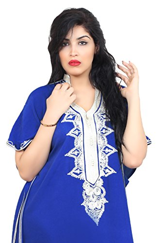 Moroccan Caftan Hand Made Top Quality Breathable Cotton with Hand Embroidery Long Length Blue by Moroccan Caftans (Image #1)