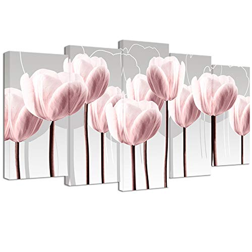 Visual Art Decor Abstract Pink Tulip on Grey Background Canvas Prints Wall Art Floral Painting Print with Frame Modern Home Decoration Ready to ()