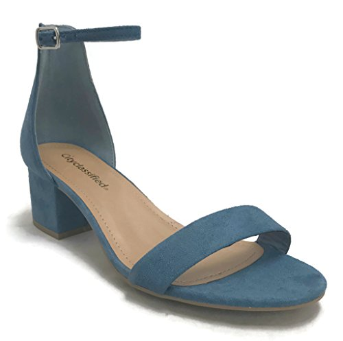 Strap Heeled Classified Toe Block City Women's Open Ankle Blue Sandals Dusty 0YTAxRwq