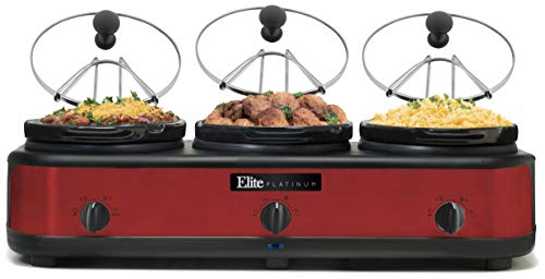 (Maxi-Matic EWMST-325R Triple Slow Cooker Buffet Server, Warmer, Adjustable Temp Dishwasher-Safe Oval Ceramic Pots, Lid Rests, 3 x 2.5Qt Capacity, Red)