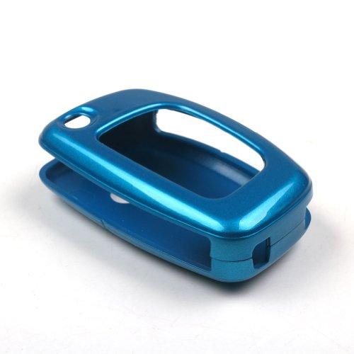 TOFNK Blue Paint Metallic Shell Coverkey Fob Skin Covers replacement for Hyundai Santa Fe Ix45 Key Case Fob 2013 2014