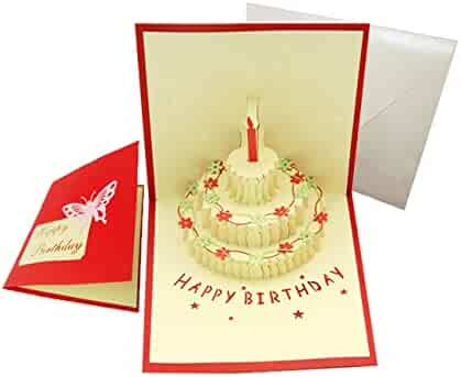 Happy Birthday Cake Pop Up Greeting Card