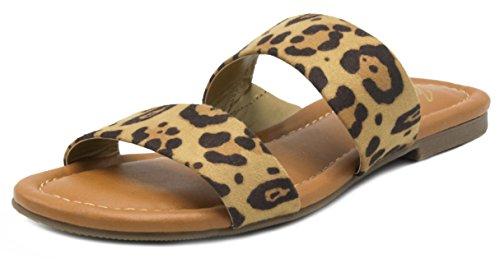Mari A Women's Marlee Flat Two Strap Sandal 2 Band Slide 6.5 Leopard Fabric (Burch Leopard Print)