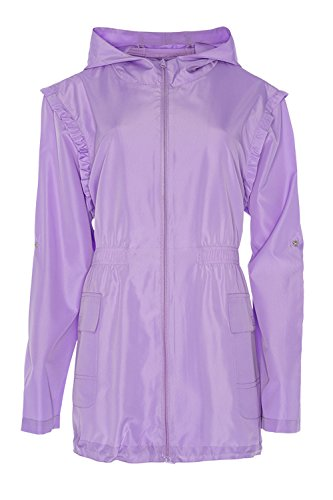 Womens Brave Soul Hooded Festival Macs Zip Up Ladies Shower Proof Coats Rave Frill - Lilac