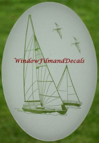 - Sailboat Oval Etched Window Decal Vinyl Glass Cling - 10.5
