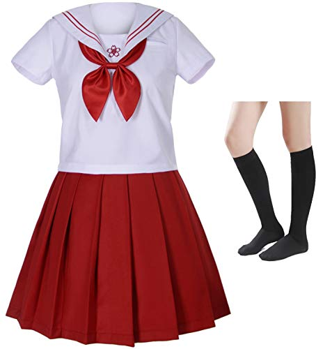 Japanese School Girls Sailor Uniform White Red Pleated Skirt Anime Cosplay Costumes with Socks Set(SSF23) S (Red Japanese School Uniform)