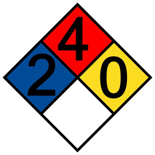 ComplianceSigns Vinyl NFPA 704 Hazmat Diamond Label with 2-4-0-0 Rating, 12 x 12 in. Multi Color