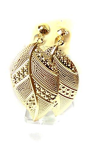 Clip-on Earrings Dotted Leaf Dangle Earrings Gold Tone Clip Earrings