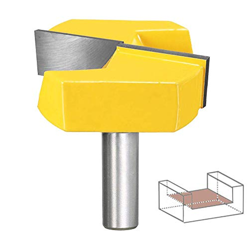 PEALIFE Router Bit 1/2 Inch Shank Bottom Cleaning, 2-1/4 Inch Diameter Woodworking Milling Cutter, Cutting Groove for CNC, Table, Surface Planing, Door, Drawer, Home DIY Tool