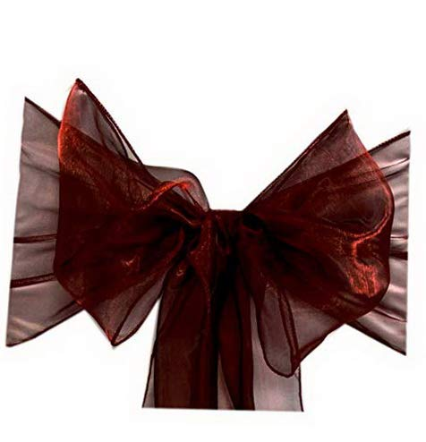 - Mikash Pack of 25 Organza Chair sash Bow Sashes for Wedding and Events Supplies Party Tion Chair Cover sash -Burgundy | 25 | Model WDDNG - 1599