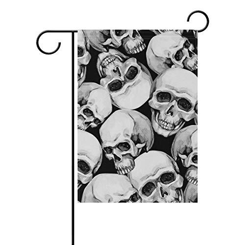 Vintage Halloween Black White Skulls Garden Yard Flag Banner for Outside House Flower Pot Double Side Print 12x18 -