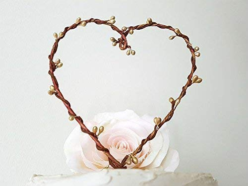 Rustic Gold Pip Berry Heart Wreath Cake Topper