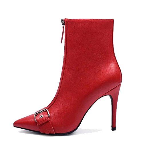 con metallo 42 stivali anteriore a pelle cerniera sottile in fibbia tacchi RED Moda 37 donna caviglia wdjjjnnnv RED punta alti breve scarpe HvOw4