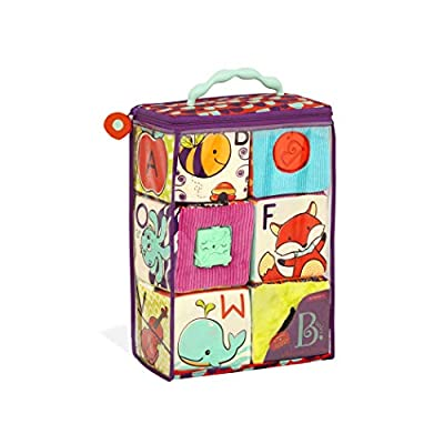 B. Toys – ABC Block Party Baby Blocks – Soft Fabric Building Blocks for Toddlers – Educational Alphabet Blocks with 6 Textured Toy Blocks & 5 Shapes – Grab & Stack Blocks: Toys & Games