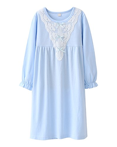 Girls' Lace Nightgowns & Bowknot Sleep Shirts 100% Cotton Sleepwear for Toddler 6 Years