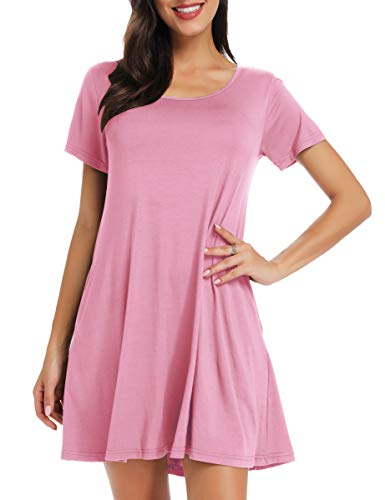 BELAROI Women's Short Sleeve Swing Dresses Summer Casual Pockets T Shirt Dress(2X,Pink) (Dresses Plus Size Sale)