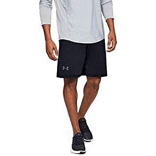 Under Armour Men's Raid 10-Inch Workout Gym Shorts , Black (001)/Graphite , Large
