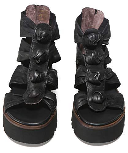 Lofina De Cuero Anudadas Sandalias Negro Mujeres rq7wCAr