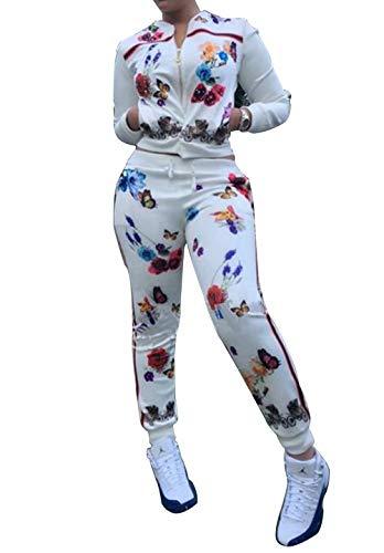 Women Floral Zip Up Tracksuit 2 Piece Jacket Suit Sports Joggers Jog Set White L