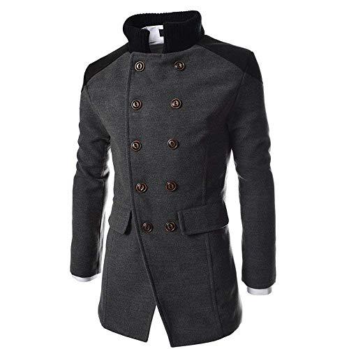Vento Di A Uomini Abbigliamento Petto Lana Outwear Caldo Uomini Degli Inverno Lungo Giacca Huixin Cappotto Pulsante Giacca Doppio Degli Grau Bavero Trincea Intelligente X7zxq4nn