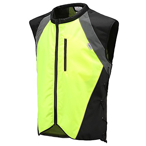 Hi Vis Reflective Motorcycle Vest Fits Over Jackets For Bikers, ATV, Hunting, Outdoor Recreation, Jogging, Cycling, Military Base Adjustable Sides, Zipper Front & Pocket ()