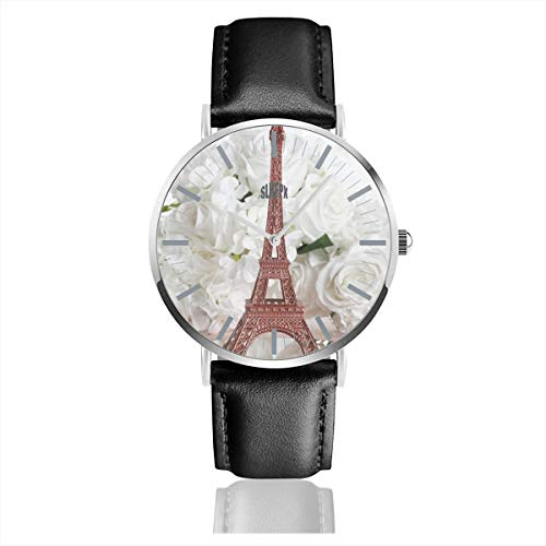 (Eiffel Tower and White Rose Mens Watches Chronograph Sports Watch Water Resistance Quartz Black Clock Business Wristwatch with Leather Strap Watch for Women Girls Boys 38mm/1.5