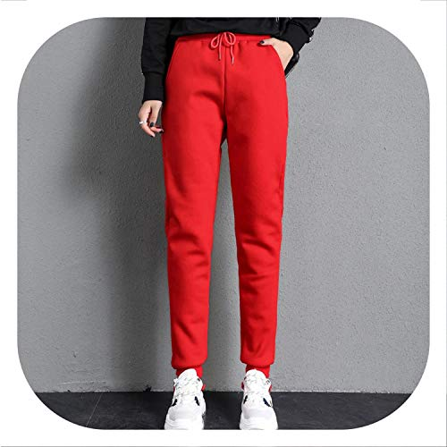 (Lambs Wool Winter Plus Velvet Thick Cotton Pants High Waist Long Trousers Harem Pants,red Style 1,XXL)