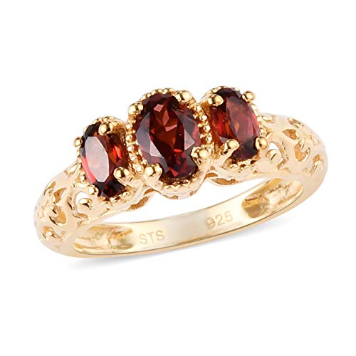 925 Sterling Silver 14K Yellow Gold Plated Oval Garnet Trilogy Ring for Women Gift Size 7 Cttw 0.9