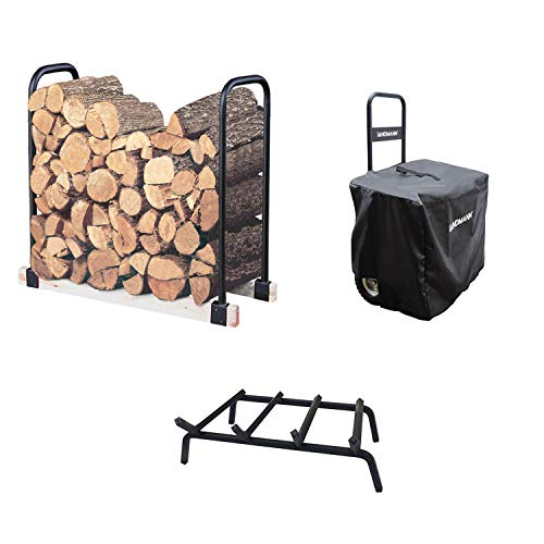 (Landmann Adjustable Log Rack + Steel Fireplace Grate + Wheeled Wood)