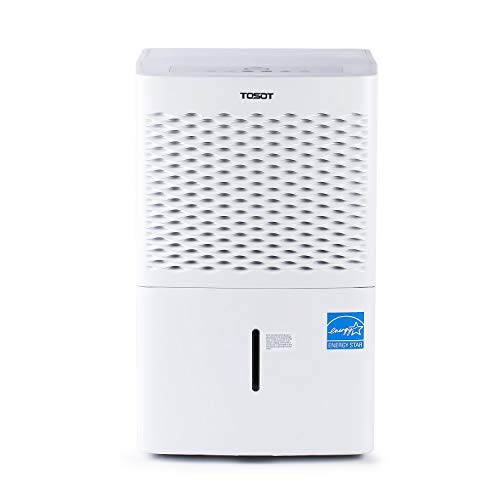 TOSOT 50 Pint Dehumidifier for Midsize Rooms up to 3000 Square Feet - Energy Star, Quiet, Portable with Wheels, and Continuous Drain Hose Outlet - Dehumidifiers for Home, Basement, Bedroom, Bathroom