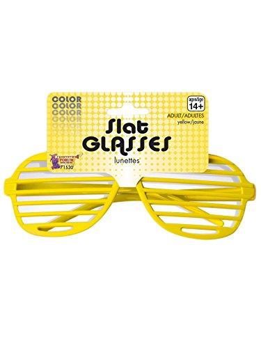 Yellow Plastic Slat Glasses - Louvered Sunglasses