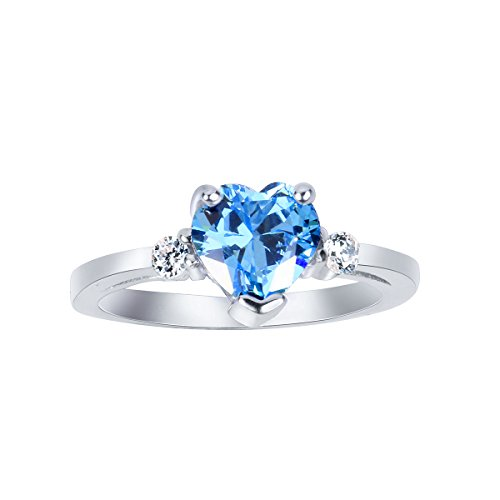CloseoutWarehouse Simulated Blue Topaz Cubic Zirconia Heart Promise Ring Sterling Silver Size 13
