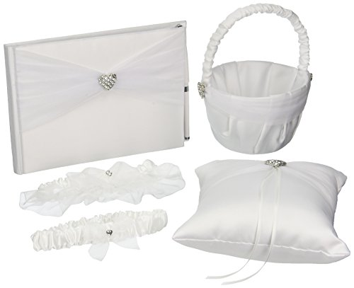 Darice VL441W 5-Piece Rhinestone Heart Guest Book Set with Pen Wedding Ring Pillow/Flower Girl Basket and 2 Garters, (Guest Book Pen Set Ring)