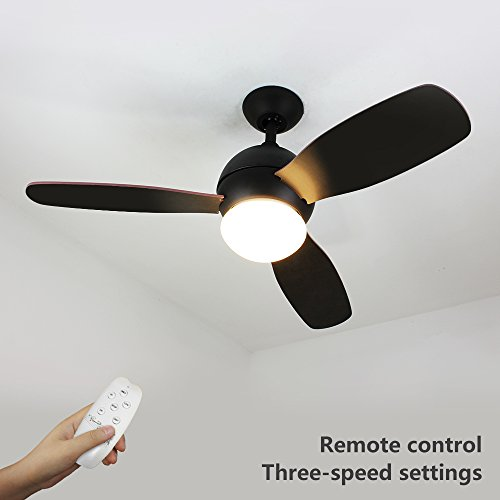 NATSEN 42' LED Semi Flush Mount Ceiling Fan Lighting with Remote Control, 3 Black Blades and Frosted White Glass Cover (Black) for Bedroom, Study Room, Kitchen
