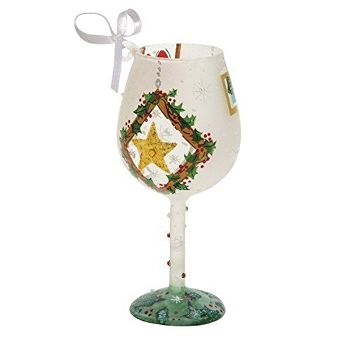 Santa Barbara Design Studio Lolita Holiday Wine Glass Ornament, Mini, Frosted Window Panes