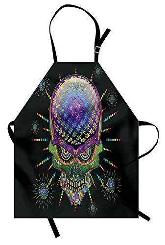 MIGAGA Psychedelic Apron, Digital Mexican Sugar Skull Festive Ceremony Halloween Ornate Effects Design, Unisex Kitchen Bib Apron with Adjustable Neck for Cooking Baking Gardening, Purple Green -