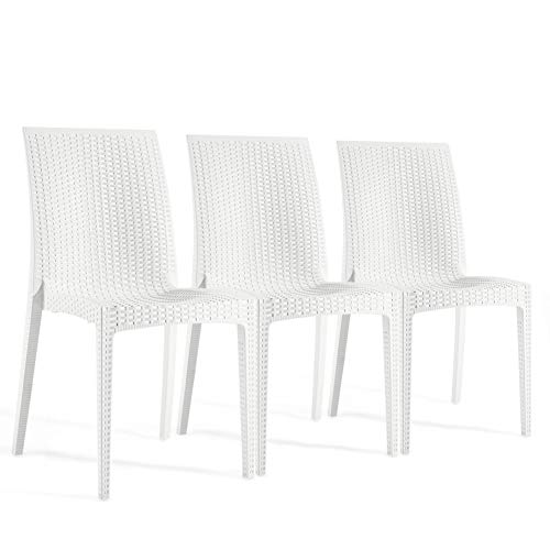 (Furgle Outdoor Dining Chairs, 3 Piece White Wicker Stacking High Back Seating,Set of 3 Woven Seat for Indoor,Outdoor,Patio,Bistro,Dining Room,Coffee Shop (3 Piece Chairs))
