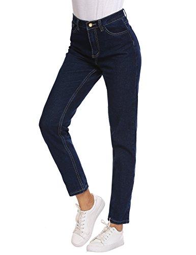 Women's Solid Vintage High Waist Washed Jeans Skinny Jeggings (Dark Vintage Jeans)